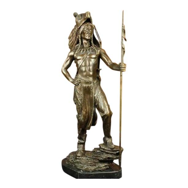 American Indian Wolf Bronze Art Deco Sculpture - Image 1 of 7