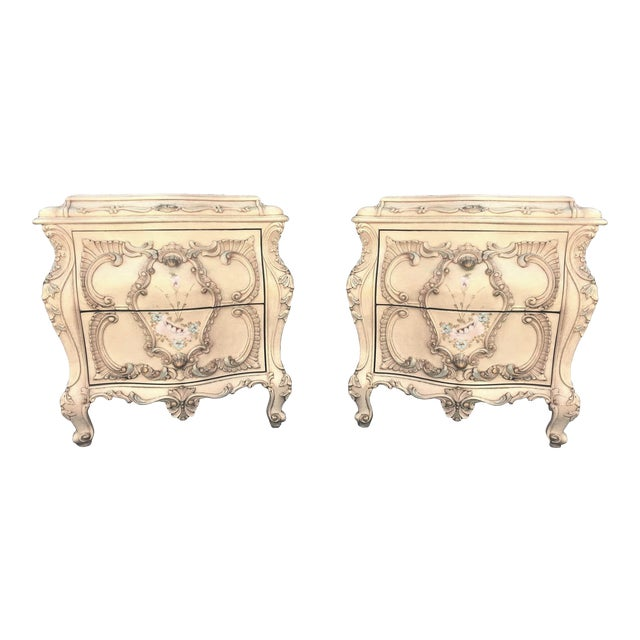 Large Rare Romantic Antique Cream French Rococo Ornate Fancy Bedroom Pair of Nightstands / End Tables For Sale