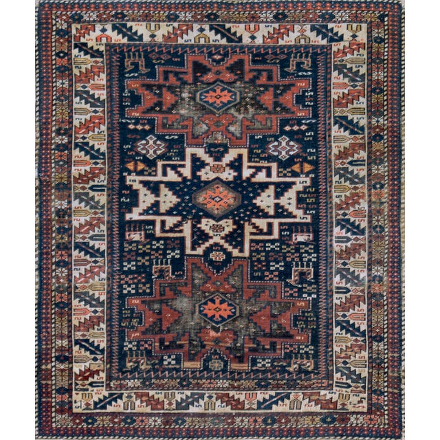 Navy Blue Handwoven Antique Wool Caucasian Rug For Sale - Image 8 of 8