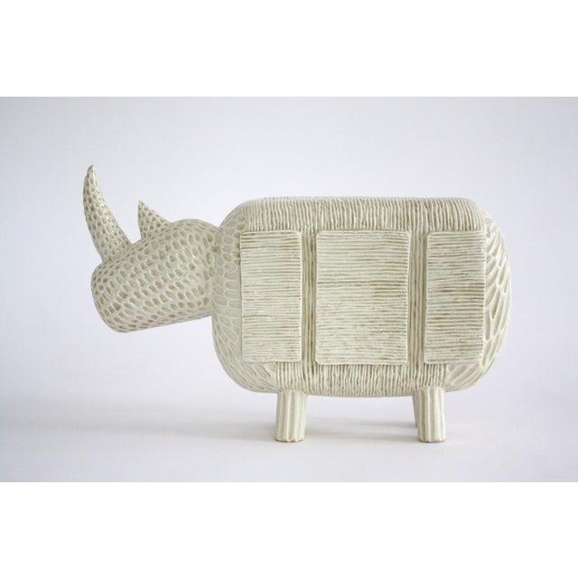 Mid-Century Modern Modern Primitive Porcelain Rhino For Sale - Image 3 of 8