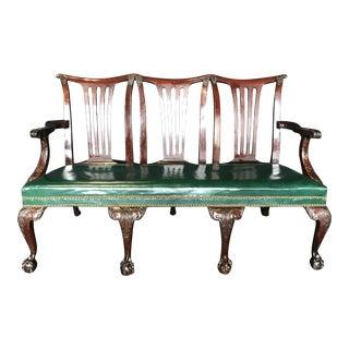 Elegant 19th Century Irish Georgian Mahogany & Leather Sofa Settee For Sale