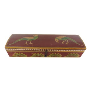 Vintage Lacquered Pen Box Depicting Birds and Palm Trees For Sale