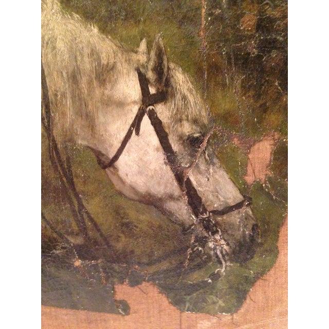 19th Century Flemish Horse Painting Fragment - Image 4 of 6