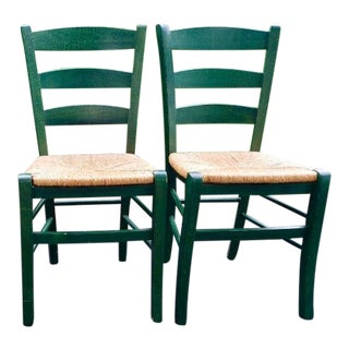 Country Crate & Barrel Farm Chairs - a Pair For Sale