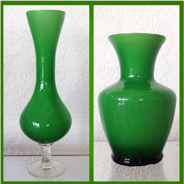 Kelly Green Empoli Vases - Set of 4 For Sale - Image 4 of 5