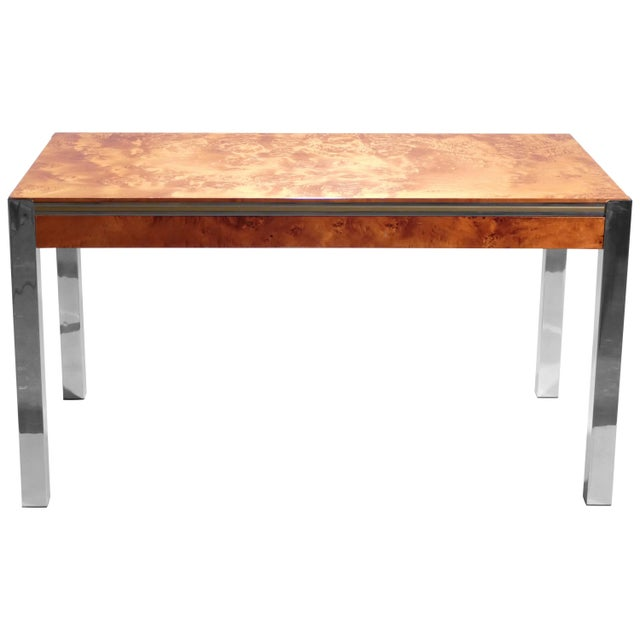 Willy Rizzo Burl Chrome Brass Dining Table, 1970s For Sale - Image 11 of 11