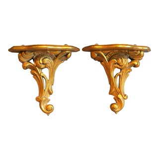 Italian Giltwood Wall Brackets, Pair For Sale