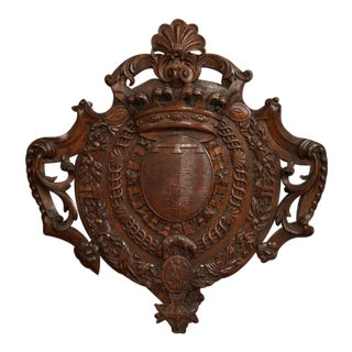 Mid-19th Century French Louis XV Carved Chestnut Wall Mounted Shield Sculpture For Sale