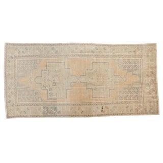 """Vintage Distressed Oushak Rug Runner - 4'1"""" X 8'4"""" For Sale"""