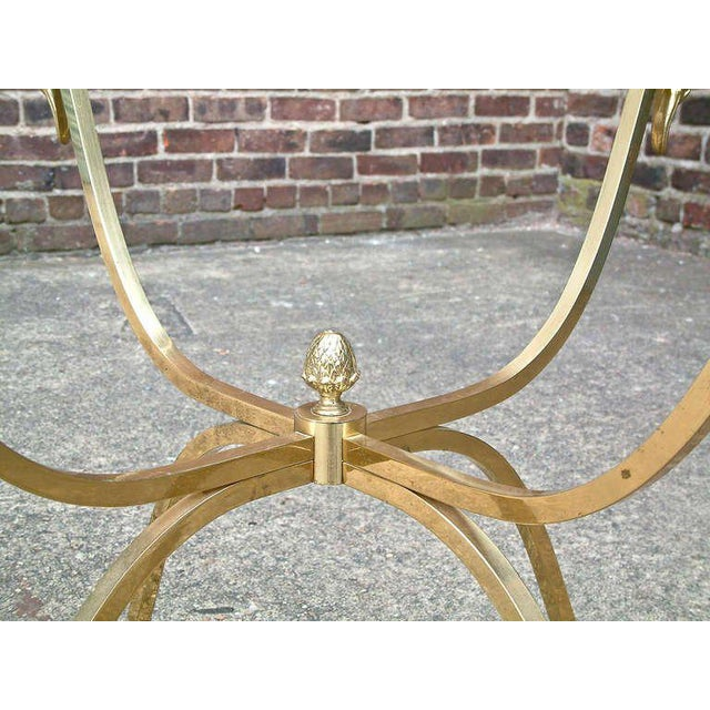 Mid-Century Modern Italian Brass and Glass Swan Motif Table in the Style of Jansen For Sale - Image 3 of 7