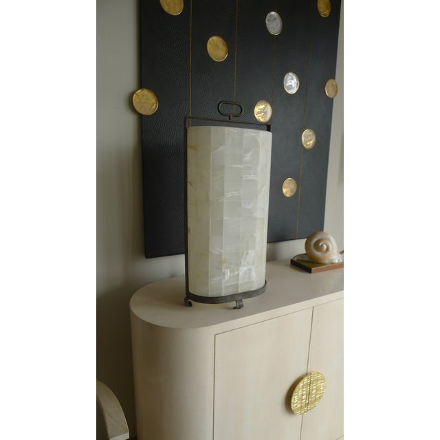Alabaster Quartz and Iron Lantern Style Tall Table Lamp For Sale - Image 8 of 9