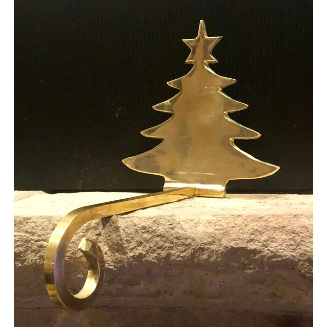 Metal Vintage Brass Stocking Hanger Christmas Hook Holiday Tree For Sale - Image 7 of 7