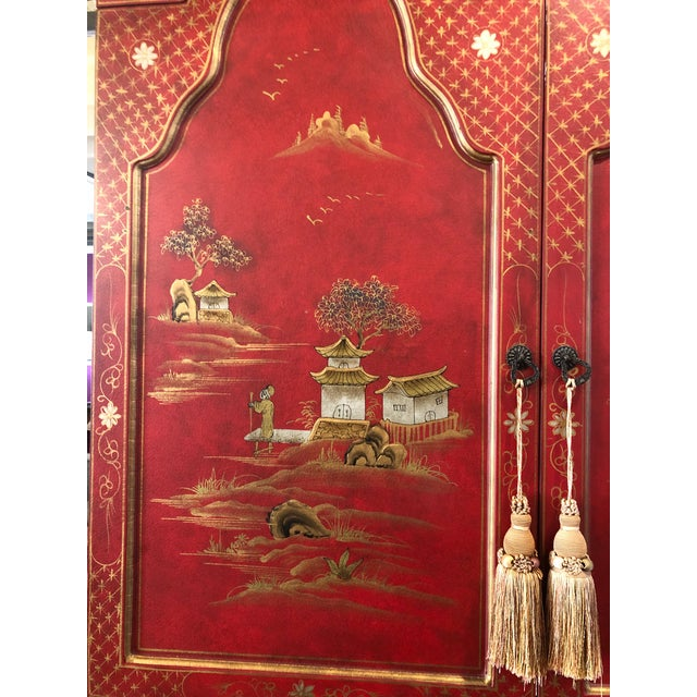 Asian Style Hand Painted Secretary W/ Hutch For Sale - Image 9 of 13