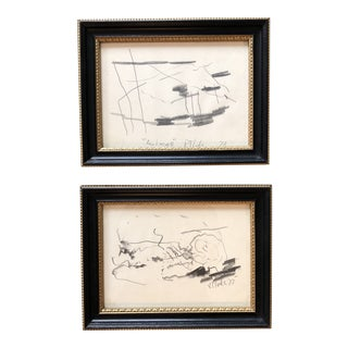 Original Robert Cooke Vintage Abstract Landscape Drawings APair For Sale
