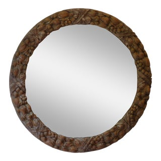 19th century French Provincial Carved Fruit Convex Mirror