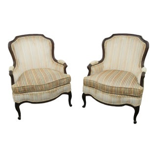 Pair of French Carved Living Bed Room Fireplace Side Chairs by Drexel For Sale