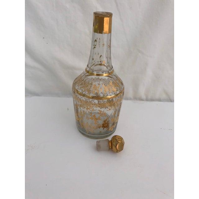 Art Nouveau 1910s Art Nouveau Gilt Decorated Small Carafe & Glass - 2 Pieces For Sale - Image 3 of 7