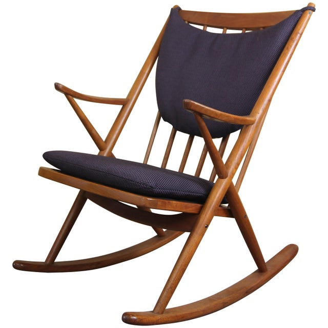 Textile Danish Rocking Chair by Frank Reenskaug for Brahmin Mobler For Sale - Image 7 of 7