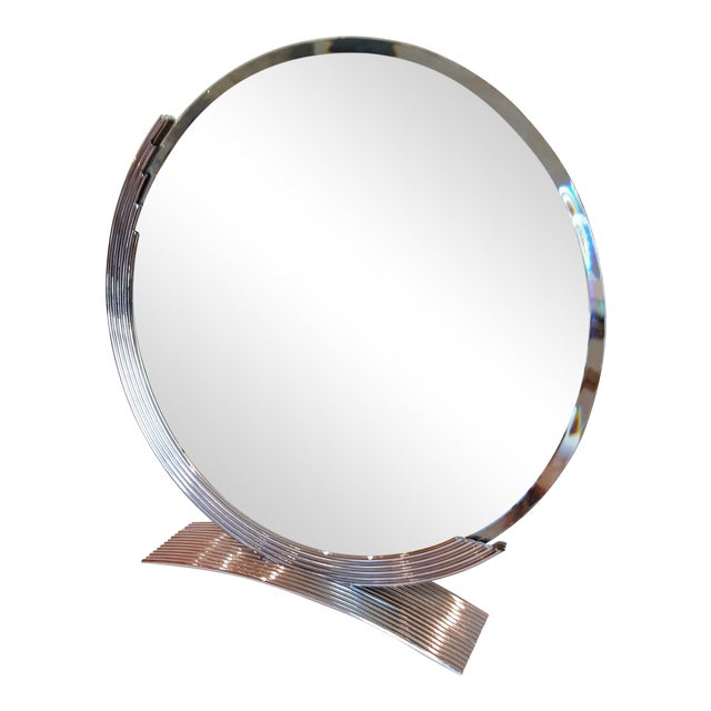 Chrome Art Deco Style Table Mirror For Sale