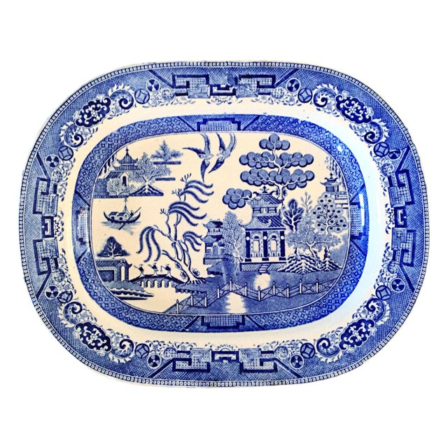 English Blue Willow Chinoiserie Serving Platter - Image 1 of 4