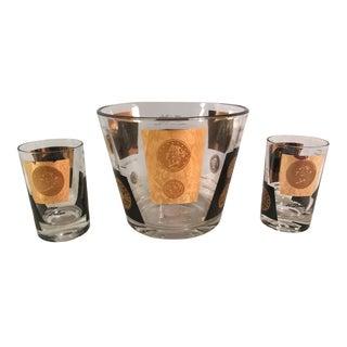 Mid-Century Ice Bucket & Two Lowballs Bar Set - Set of 3