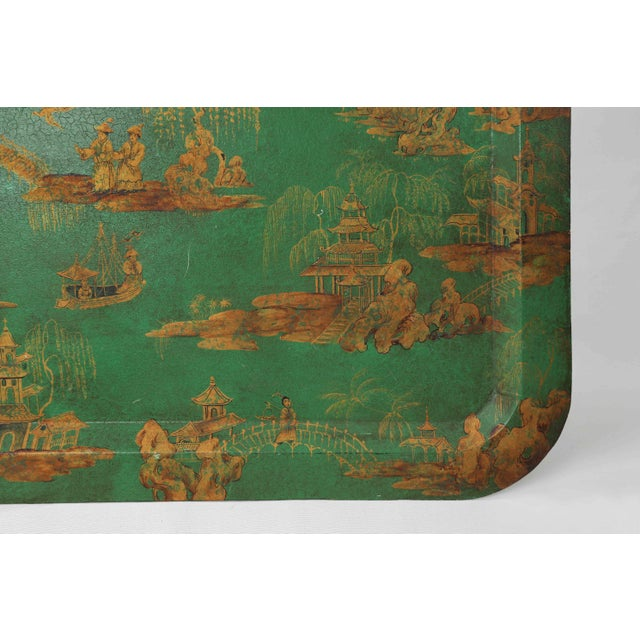 Metal Vintage Chinoiserie Green Tray With Hand Painted Scenery in Gold Paint For Sale - Image 7 of 12