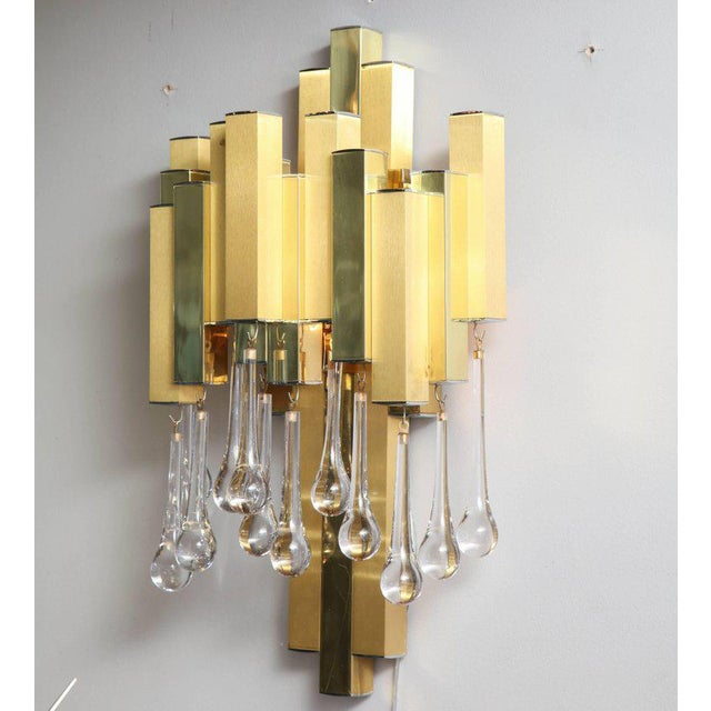 Brutalist Pair of Gaetano Sciolari Brutalist Sconces with Glass Tear Drops For Sale - Image 3 of 6