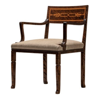 1920s Gustav Bergström, Swedish Grace Period Quilted Birch and Marquetry Armchair For Sale