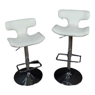 Late 20th Century Modern Adjustable Swivel Bar Stools- A Pair For Sale