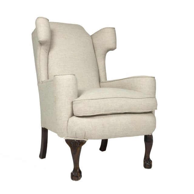 Large Scale English Wing Chair With Mahogany Frame, Carved Mahogany Ball And Claw Feet, Circa 1870 For Sale - Image 13 of 13