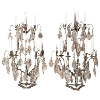 Pair of Seven-Light Bronze and Cut Crystal Candelabra Girandoles, 19th Century For Sale