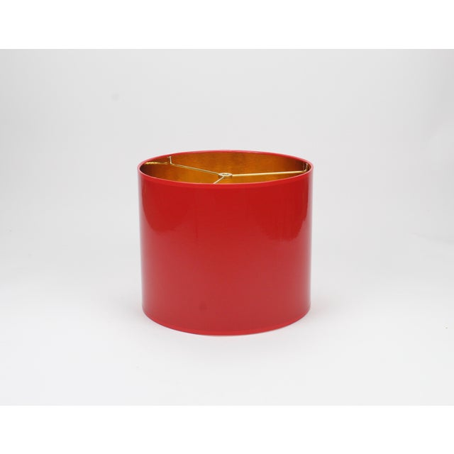 Small High Gloss Red Drum Lamp Shade With Gold Lining For Sale - Image 6 of 6