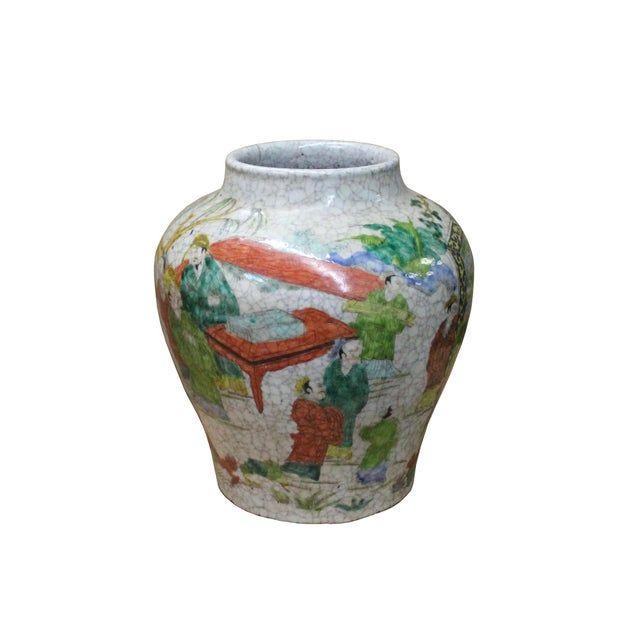 Asian Chinese Handmade Gray White Crackle Base People Graphic Ceramic Pot Jar For Sale - Image 3 of 9