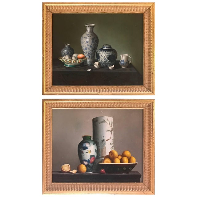 Pair of Diminutive Still Life Continental Oil Paintings on Board For Sale