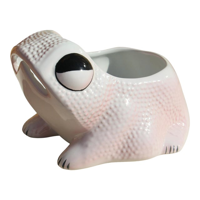 1970's Vintage Hobnail Frog Planter in the Style of Jean Roger For Sale