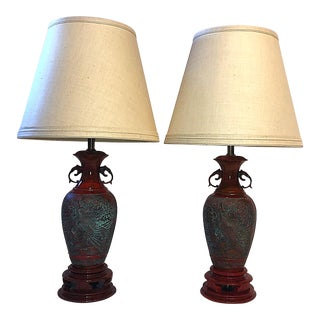 Marbro Asian Inspired Faux Cinnabar Lamps - a Pair For Sale