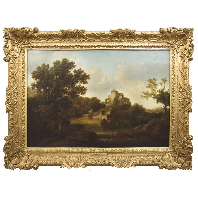 """""""Landscape W/ Castle Ruins"""" Antique English Painting by George Smith of Chichester For Sale - Image 13 of 13"""