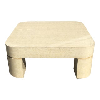 Karl Springer Style Mid-Century Modern Ello Goatskin Coffee Table For Sale