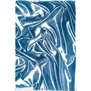 Silk Whisper in Classic Blue, Blueprint on Watercolor Paper, Subtle Memories in Blue, 100x70 CM Orr 40x28 Inch, Large Format Monotype For Sale