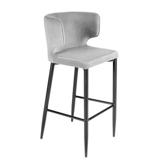 Kayla Upholstered Curved Gray Bar Chair For Sale