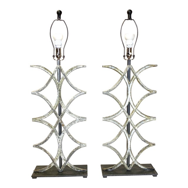 Beautiful Vintage French Table Lamps W/ Iron Detail - a Pair For Sale