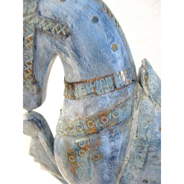 Asian 1990s Antique Blue Wood & Brass Tang Stallion For Sale - Image 3 of 8