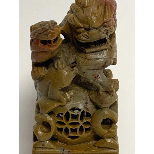 Large Chinese Export Carved Soapstone Foo Dog Scholars Seal For Sale In West Palm - Image 6 of 12
