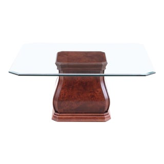 20th Century Contemporary Sherrill Furniture Burl Wood & Beveled Glass Coffee Table For Sale