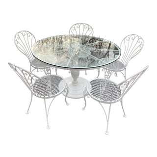 Vintage Woodard Round Dining Table and Chairs -Set of 6 For Sale