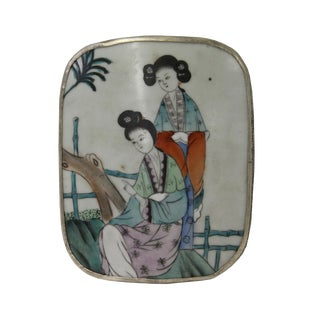 Chinese Old Colorful Lady Painting Porcelain Art Nickel Trinket Box For Sale