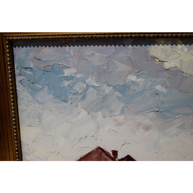 Vintage Oil Painting Buzzards Bay Cape Cod Palette Knife Technique For Sale In West Palm - Image 6 of 12