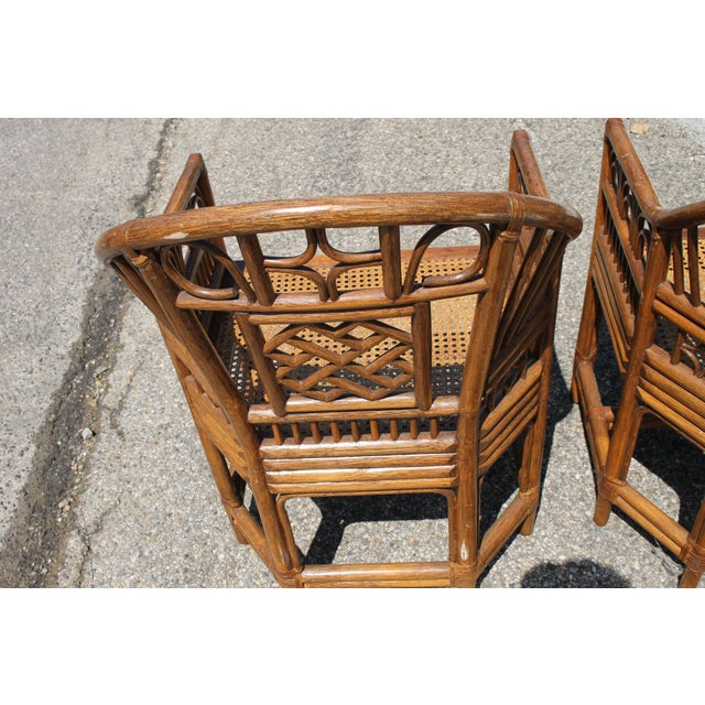 Wood Chinoiserie Bamboo Rattan Brighton Pavilion Chairs With Caning- a Pair For Sale - Image 7 of 11