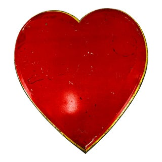 Antique Metal Heart Candy Box Tin For Sale