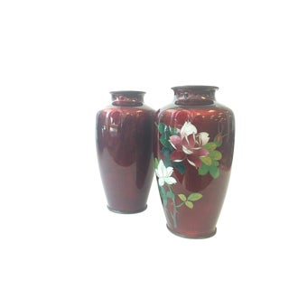 Oxblood Cloisonné Vases - a Pair For Sale